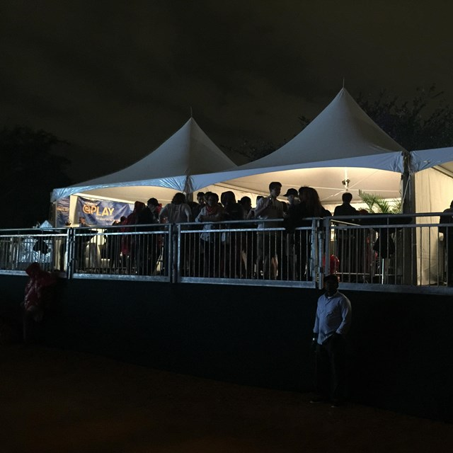 Large event tent at night