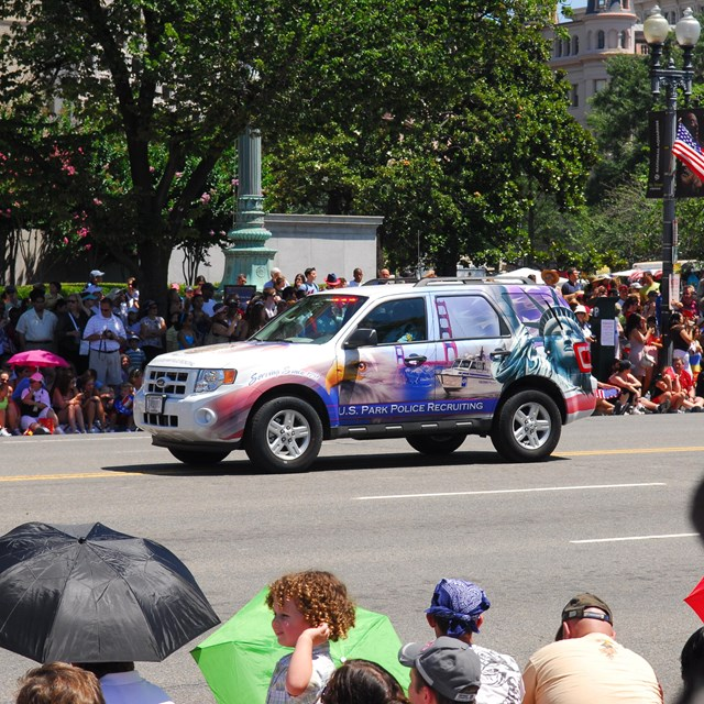 US Park Police Security Vehicle going through parade route