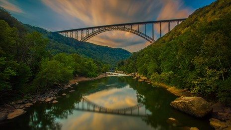 sunset over the New River Gorge Bridge