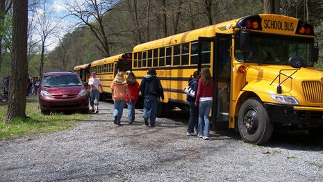 students and school bus