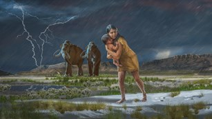 Illustration of a woman carrying a child during a storm with prehistoric animals nearby