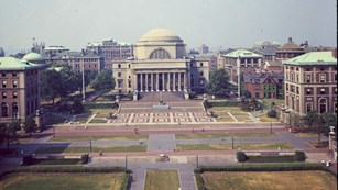 Older color photo of Columbia University building