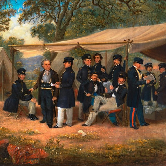 Oil painting depicting a Mexican War era U.S. Army military camp.