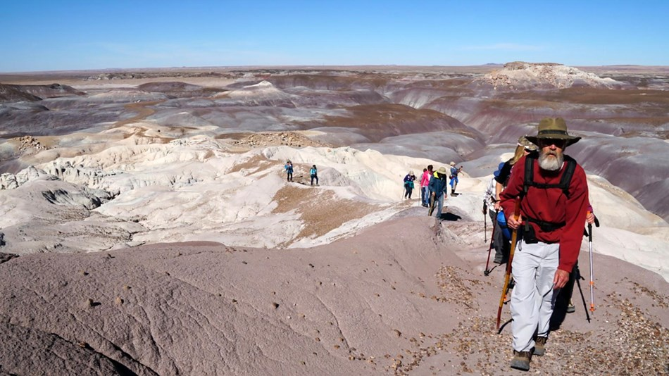 Hikers in gray, blue, and purple badlands at Blue Mesa