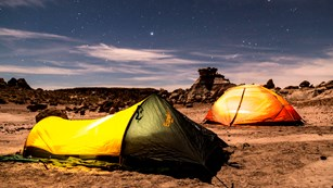 Backpackers enjoys spending the night in the Petrified Forest National Wilderness Area