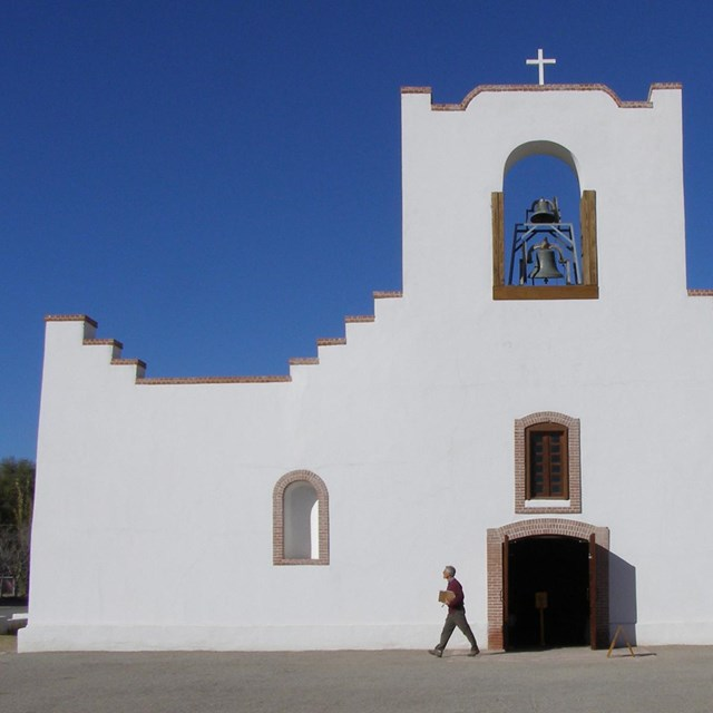 White stucco exterior of Spanish mission