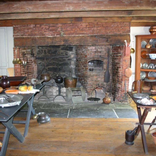 Historic kitchen hearth from late 18th-century