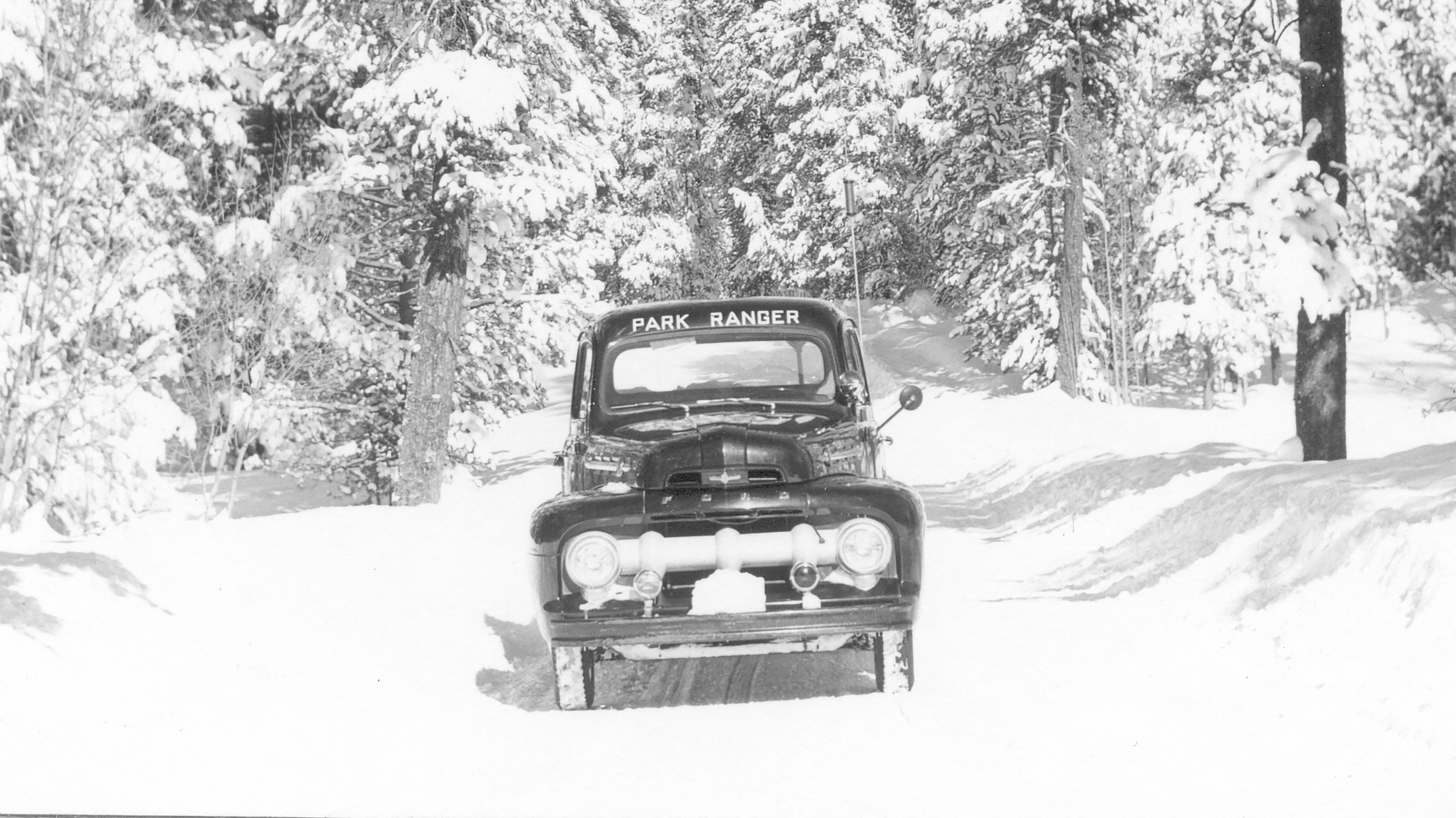 A historic photo of an old car on a snow-covered road lined by conifers