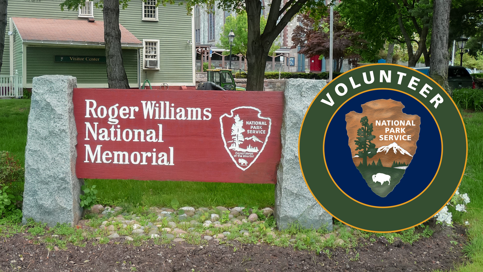 Image of Roger Williams welcome sign and volunteer logo.