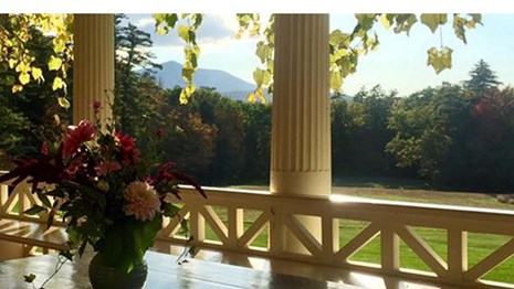 Saint-Gaudens porch in the fall