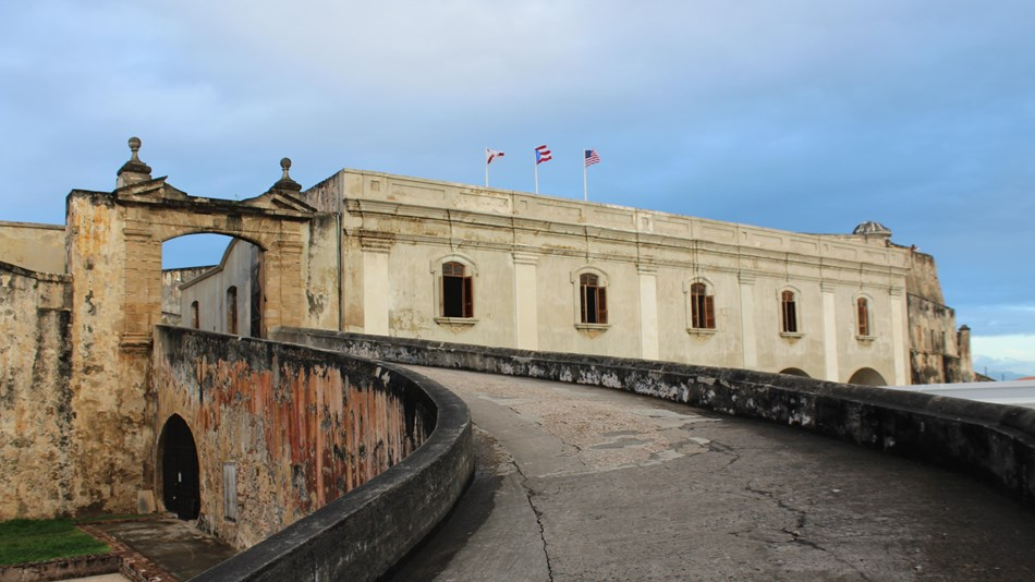 Steep ramp leads to historic entrance to fort.