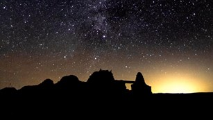 The  majestic Milky Way shines over Gran Quivera ruins .