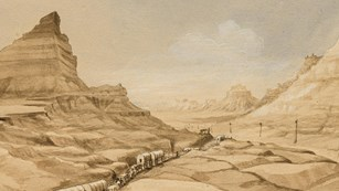 A watercolor painting depicts covered wagons moving through a tight pass between two bluffs.