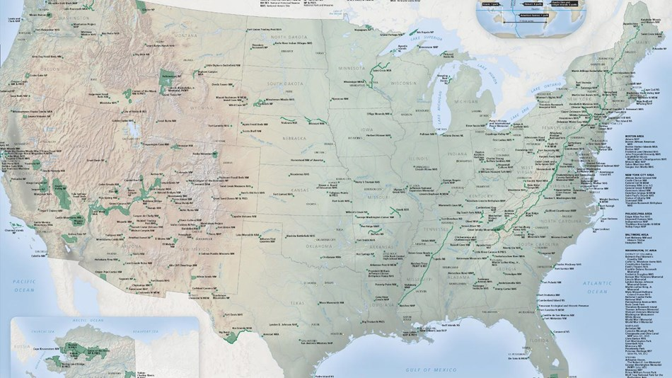 Map of the United States showing national parks