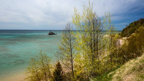 The Morazan wreck in the waters off the shore of South Manitou Island