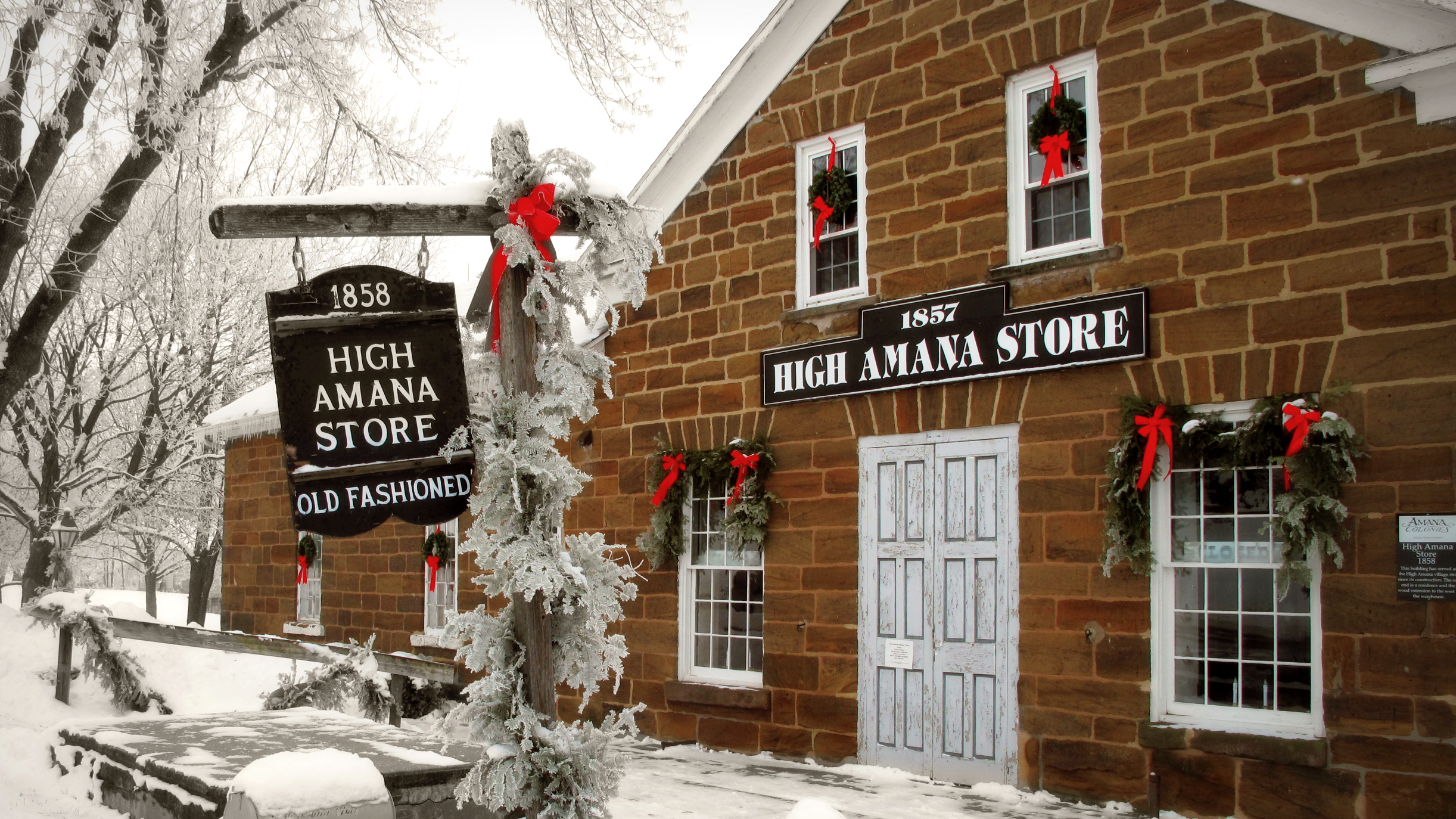 exterior of the high amana store after snow