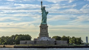 Statue of Liberty on island. CC0