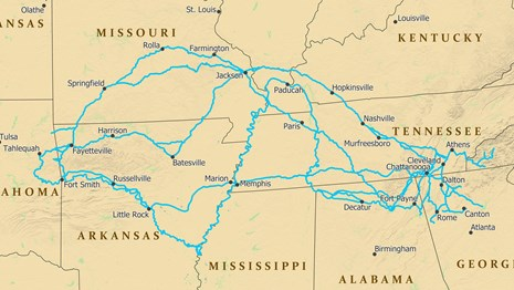 A map depicting trail routes from the southeast USA to eastern Oklahoma.