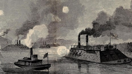 A black and white sketch of Admiral Porter's ironclad gunboats attacking the Grand Gulf defenses.