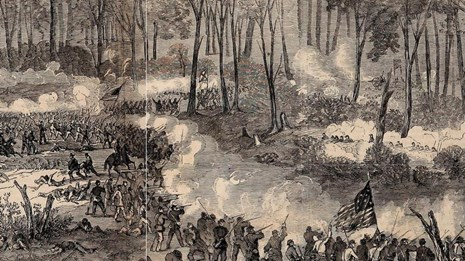 Black and white sketch of Union soldiers in lines attacking Confederates on a hill
