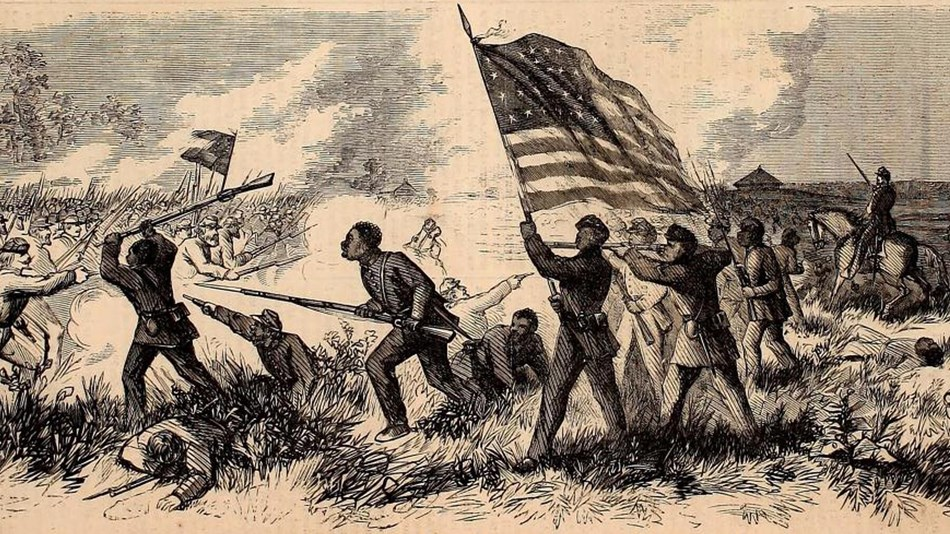 Black and white sketch of African American soldiers fighting and holding the American flag.