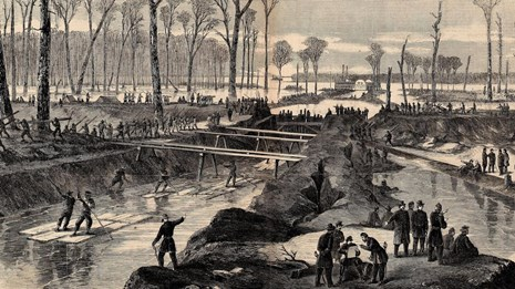 A drawing of soldiers and freedmen digging a canal.
