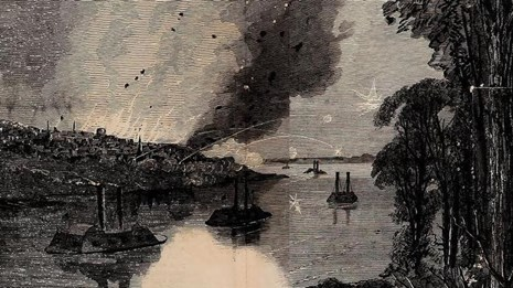 A black and white sketch of the ironclad boats passing under the Confederate cannons at Vicksburg.