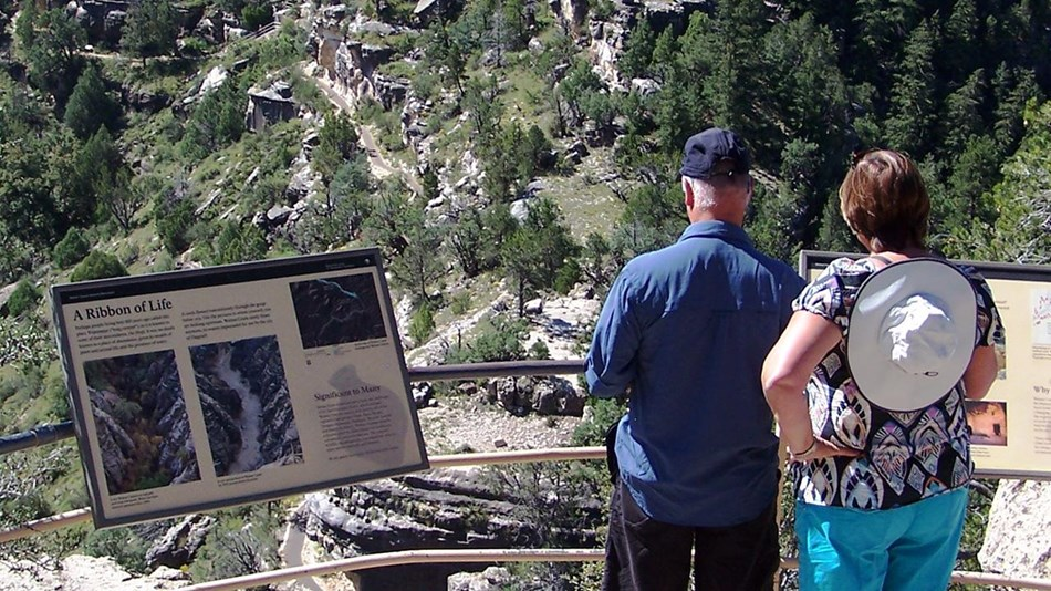 A man and woman read signs at a canyon overlook.