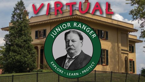 A large yellow house with junior ranger logo on top and VIRTUAL in text atop