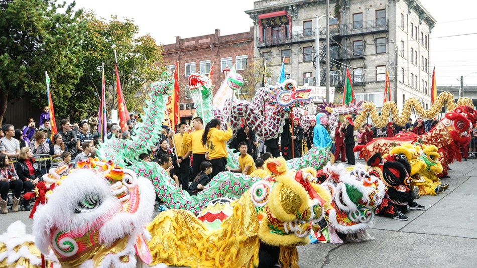 Dragon dancers play a huge part in community festivities