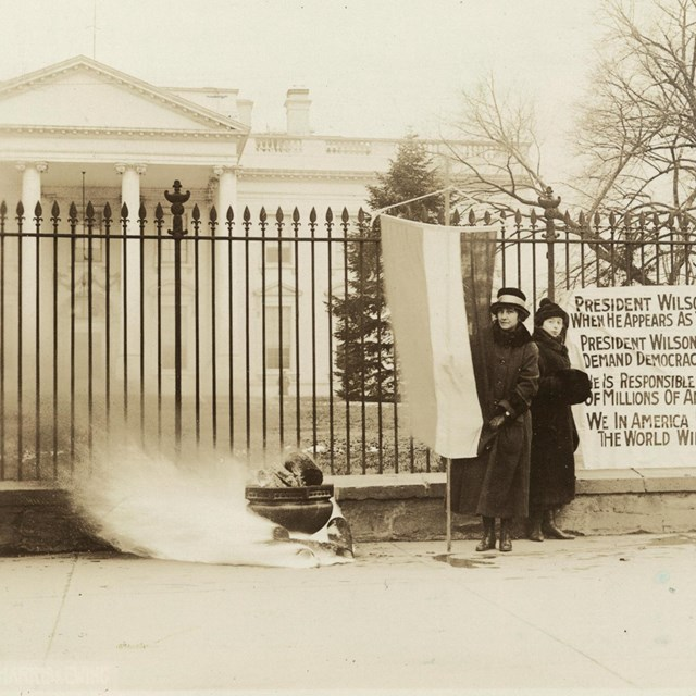 National Woman's Party Watchfire at the White House. Library of Congress