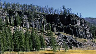 Gray, columnar cliff standing above the surrounding forest and meadow.