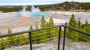 A metal and cable railing in front of an overlook of a blue pool surrounded by prismatic colors.
