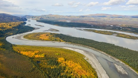 Aerial view of the Yukon River with fall colors