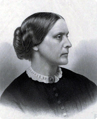 Portrait of Susan B. Anthony, c. 1855. From History of Woman Suffrage book, 1881.