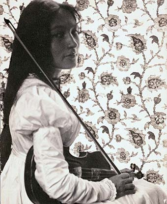 Zitkala-Sa and her violin, 1898. Photo by Gertrude Kasebier, Smithsonian