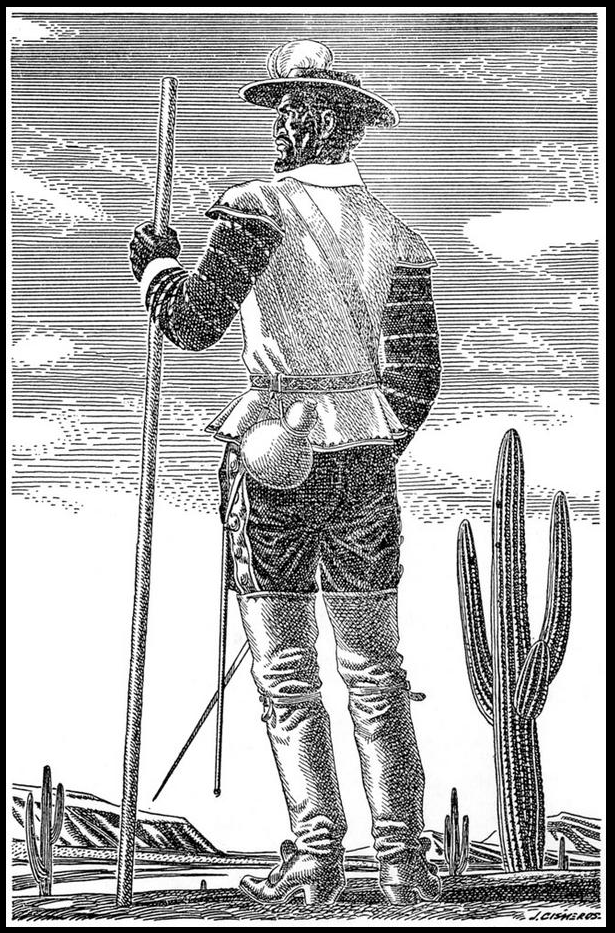 A black and white line drawing of an explorer in the desert