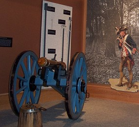 3-pounder grasshopper cannon in the visitor center museum