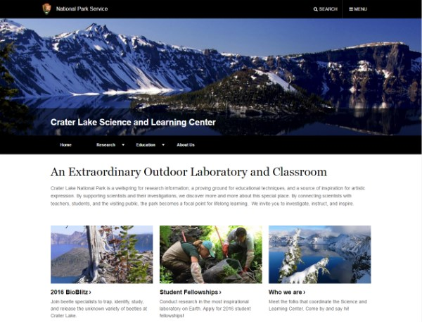 A screenshot of the Science & Learning Center website.
