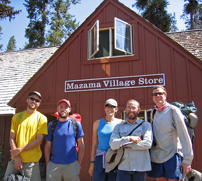 Happy hikers outside the Mazama Village Store