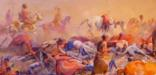 Historic painting of aftermath of the Battle of the Little Bighorn