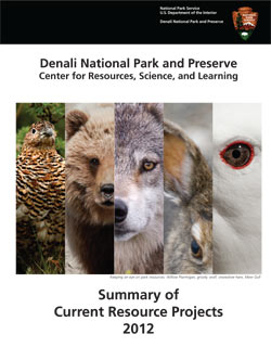"cover of ""Current Resource Projects,"" with a montage of five animal images depicting a brown spruce grouse, a grizzly bear, a wolf, a snowshoe hair and a mew gull"