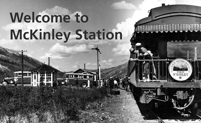 A historic black and white photo of a train arriving at McKinley Station