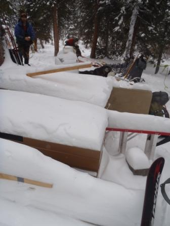 Trail Crew Camp supplies left for kennels to haul out in winter