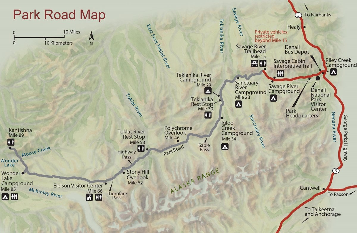 a map showing the predominantly east-west Denali Park Road and various landmarks along it