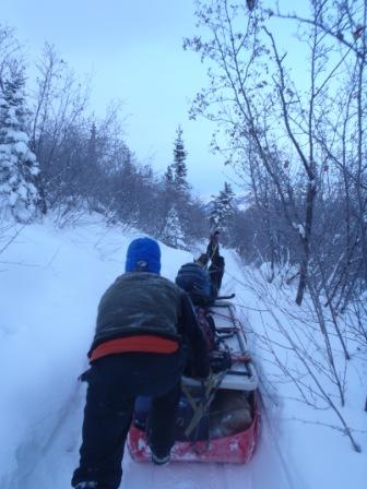 Sled loaded with trail crew supplies