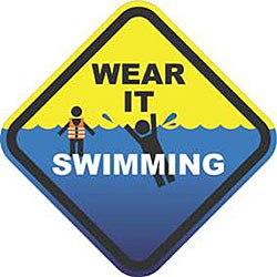 life jacket wear it swimming sign