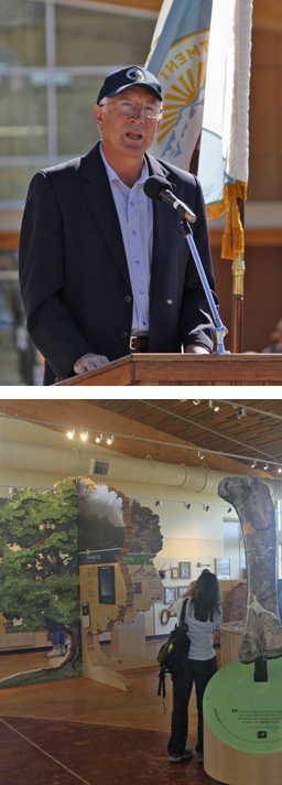 Secretary of the Interior Ken Salazar (top) and view of new Quarry Visitor Center exhibits (bottom).