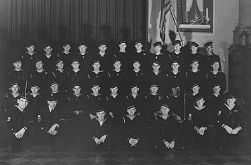 The 1942-1943 class of the Coast Guard Quartermaster and Signalmen's School on Ellis Island.
