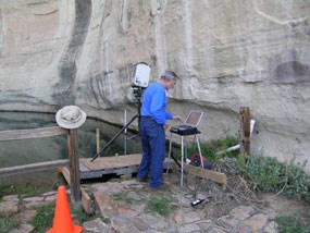 This researcher is scanning inscriptions at El Morro.